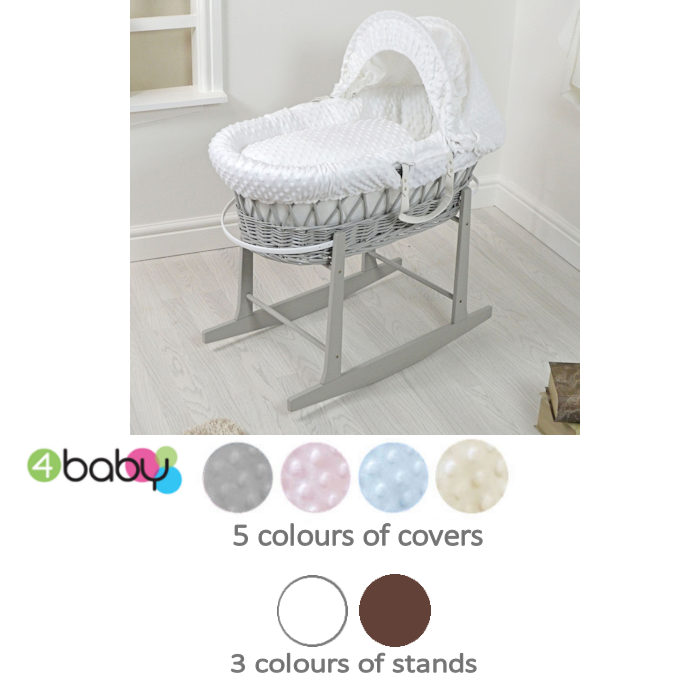 4Baby Padded  Wicker Moses Basket  Rocking Stand