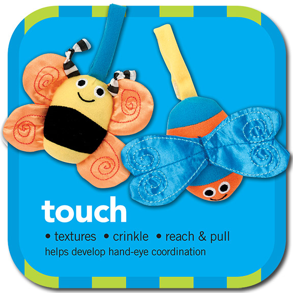 touch • textures • crinkle •reach & pull •helps develop hand-eye coordination