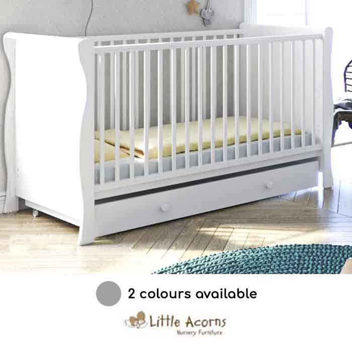 Little Acorns Sleigh Cot Bed With Deluxe Foam Mattress & Drawer