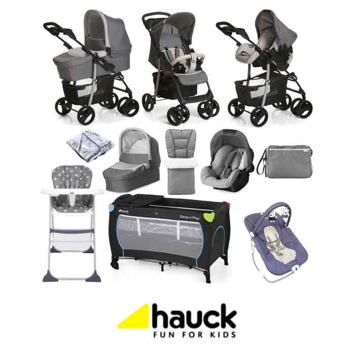 Hauck Shopper SLX Trio Set with Footmuff Changing Bag Raincover Everything You Need Travel System Bundle Stone Grey