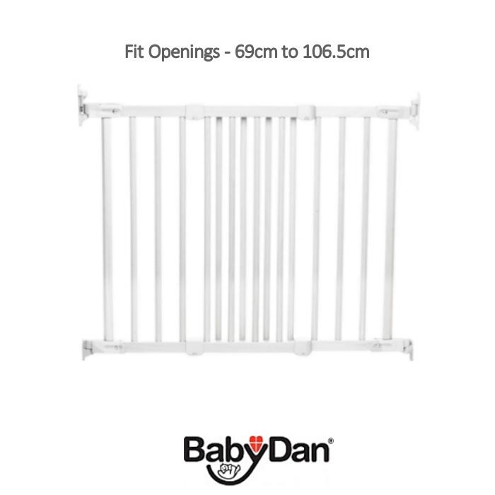 Babydan Super Flexi Fit Wooden Safety Gate - White
