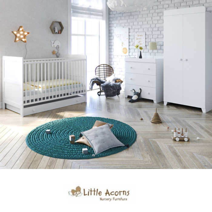 Little Acorns Classic Cot 5 Piece Nursery Furniture Set with Deluxe Foam Mattress - White