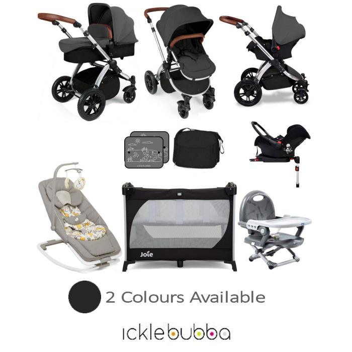 Ickle Bubba Stomp V3 Silver Everything You Need Travel System Bundle (With Base)