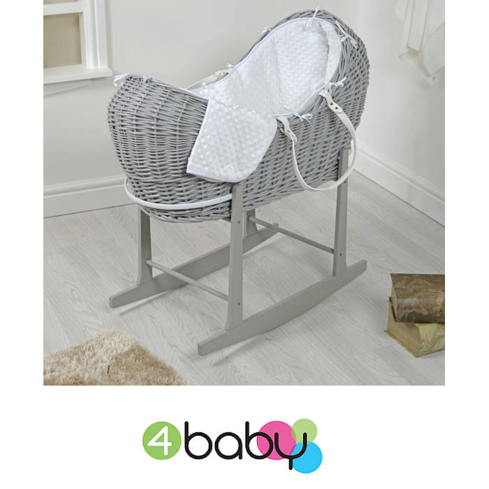4baby Grey Wicker Snooze Pod Moses Basket & Rocking Stand