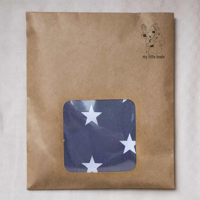 Breastfeeding cover up nursing apron scarf shawl poncho - Grey stars - Packaging