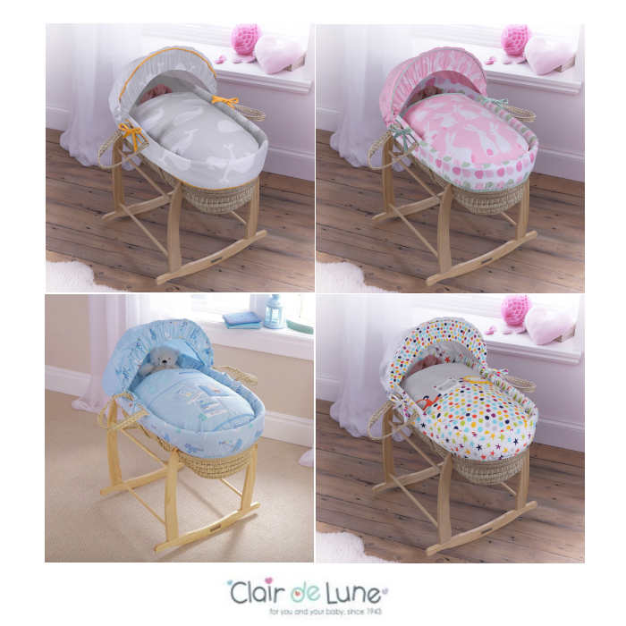 Clair De Lune Palm Moses Basket Deluxe Rocking Stand