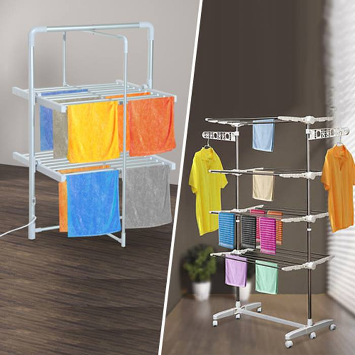 HOMCOM Heated or Standard Folding Clothes Airer - 2 or 4-Tier