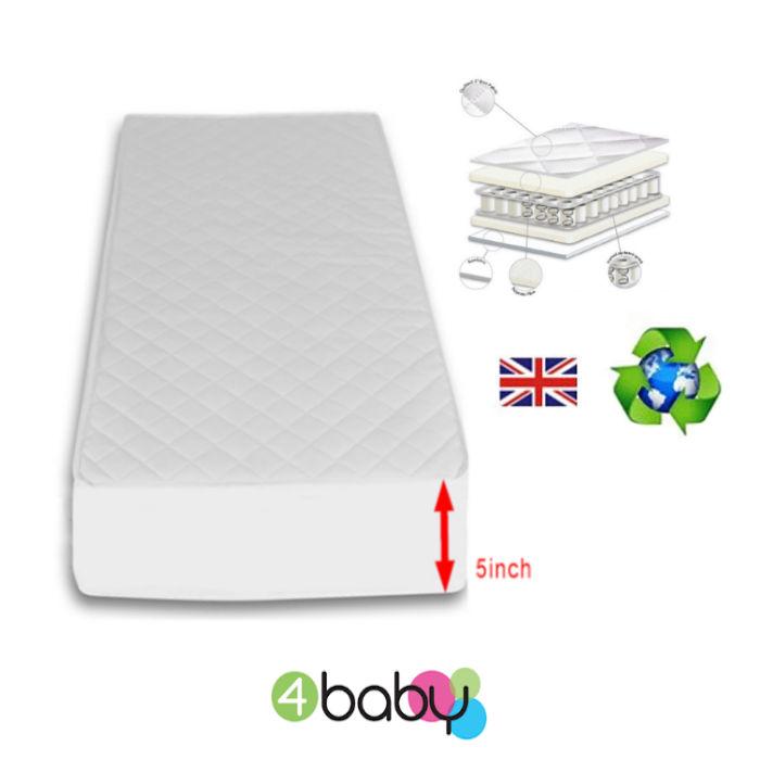 4Baby Deluxe Pocket Sprung Cot Bed Mattress 140 x 69