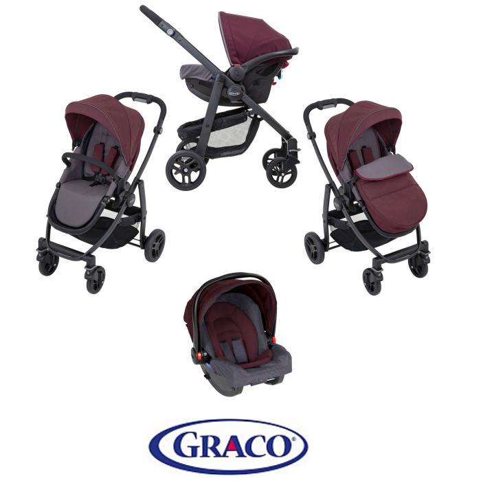 Graco Evo (SnugRide R44) Pushchair Travel System - Crimson