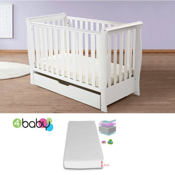 4Baby Pisa Sleigh Cot Drawer With Deluxe 4inch Foam Mattress