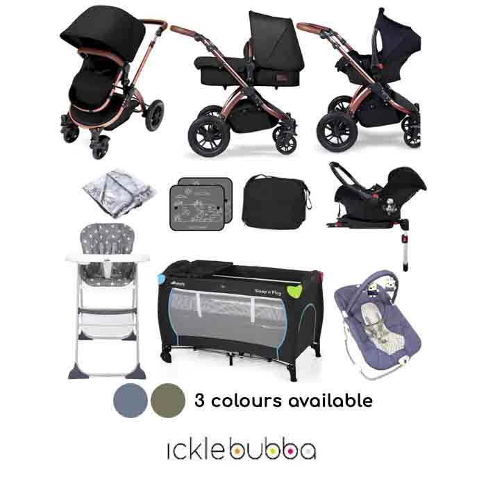 Ickle Bubba Special Edition Stomp V4 (Galaxy Car Seat) Everything You Need Travel System Bundle (With Base)
