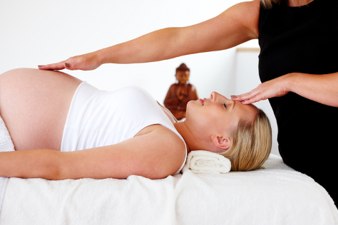 Pregnant woman having a massage