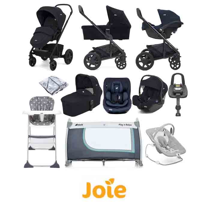 Joie Chrome DLX (i-Gemm & i-Venture Car Seat) Everything You Need Travel System With Carrycot and ISOFIX Base Bundle