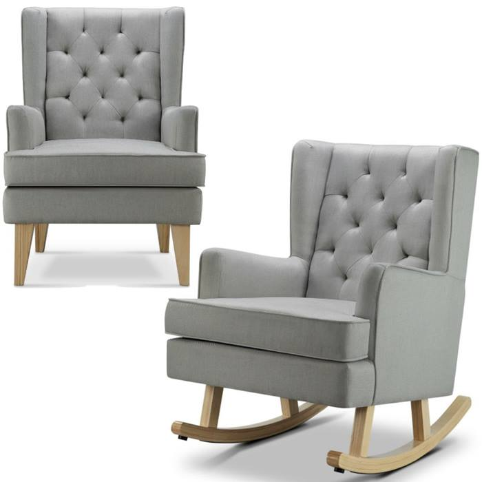 Babylo Soothe Easy Chair & Rocker (Natural Grey)