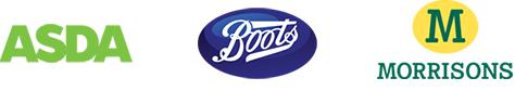 Asda, Boots, Morrisons