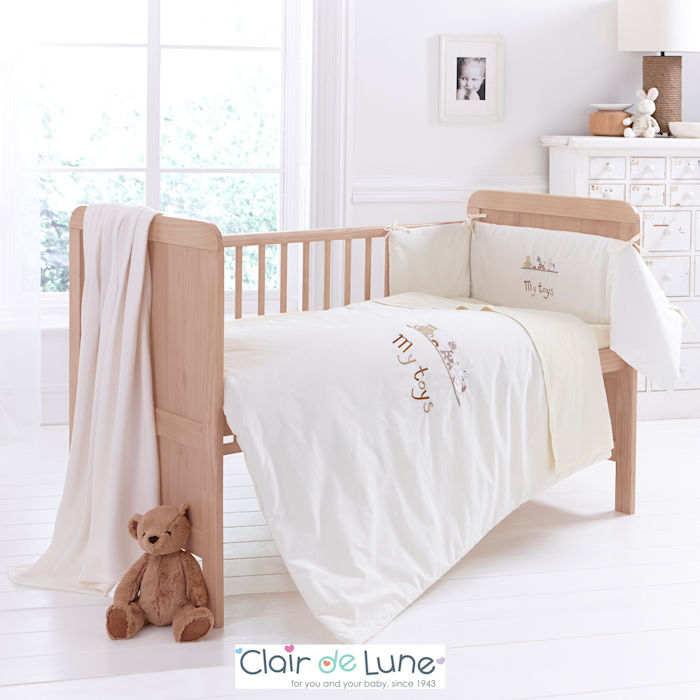 Clair De Lune My Toys 5 Piece Cot  Cot Bed Bedding Set - Cream