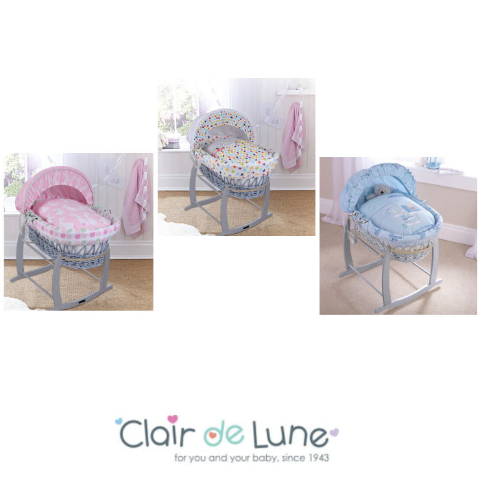 Clair De Lune Padded Grey Wicker Baby Moses Basket Deluxe Rocking Stand