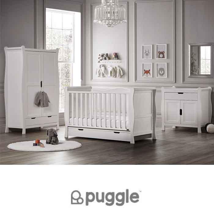 Puggle Prestbury Classic Deluxe Sleigh 6pc Nursery Furniture Set with Drawer & Fibre Mattress