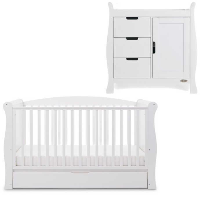 OBaby Sleigh Cot Bed 2 Piece Room Set (White)