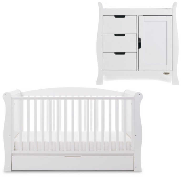 OBaby Sleigh Cot Bed 2 Piece Room Set (White)