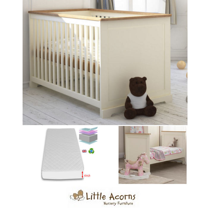 Little Acorns Ava Cot Bed Deluxe Foam Mattress Ivory Oak