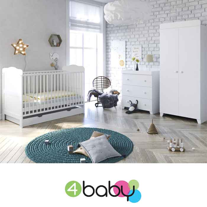 4Baby Little Acorns Classic Cot Bed 6pc Nursery Furniture Set With Deluxe Foam Mattress