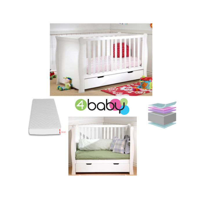 4baby Sleigh Cot  Drawer  Fibre Mattress