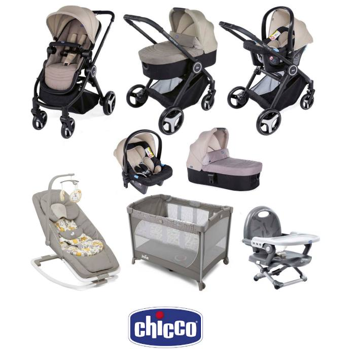 Chicco Trio Best Friend 3-in-1 Everything You Need Travel System Bundle - Beige