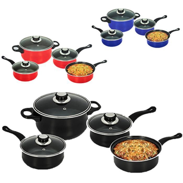 7 - piece non - stick cookware set - 3 colours