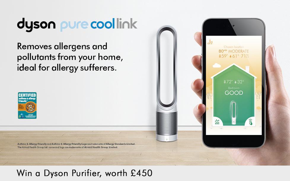 Dyson pure cool link - removes allergens and pollutants from your home, ideal for allergy sufferers. Win a Dyson Purifier, worth £450