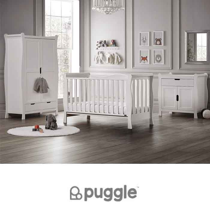 Puggle Prestbury Slatted Luxe Deluxe Sleigh 5pc Nursery Furniture Set with Fibre Mattress