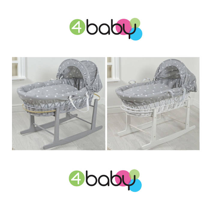 4Baby Wicker Moses Basket - Grey - White Star