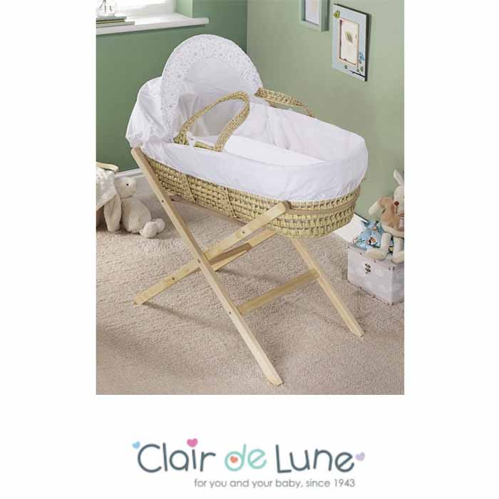Clair De Lune Palm Moses Basket with Folding Stand