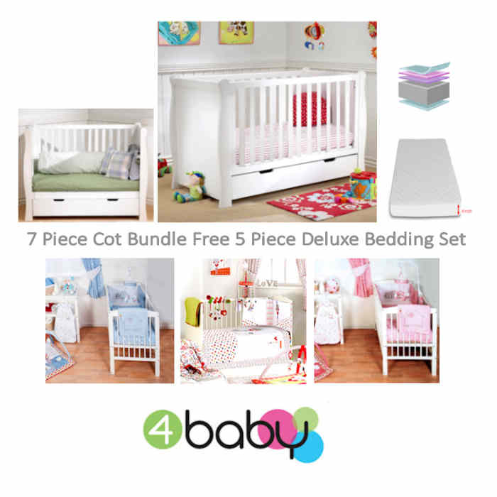 4baby sleigh cot bed and 7 piece bedding  bty
