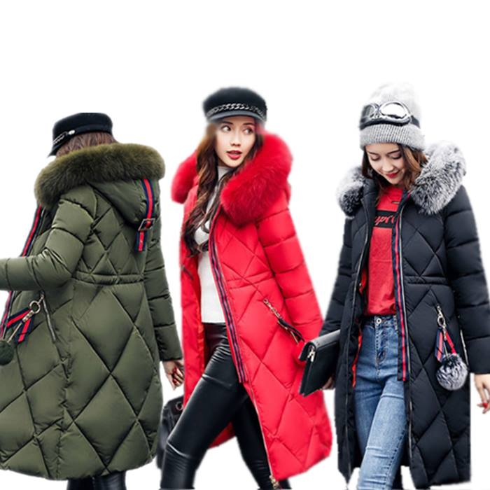 Knee-Length Quilted Puffer Coat with Faux Fur Hood - 3 Colours
