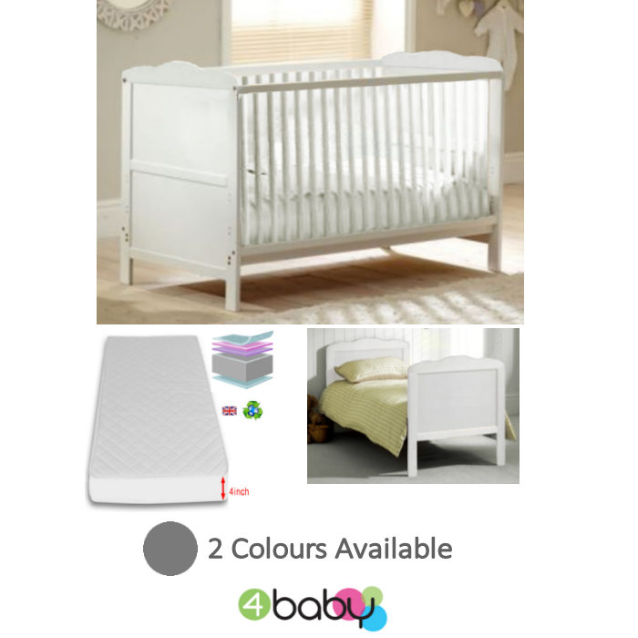 4Baby Classic Cot Bed With Luxury Foam Mattress