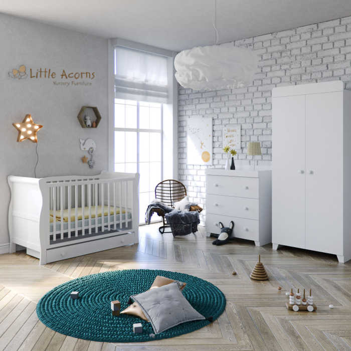 Little Acorns Sleigh Cot 6 Piece Nursery Room Set
