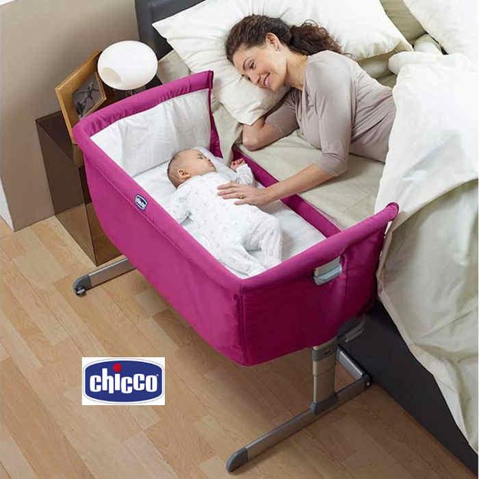 Next 2 Me Crib in use - Fuchsia