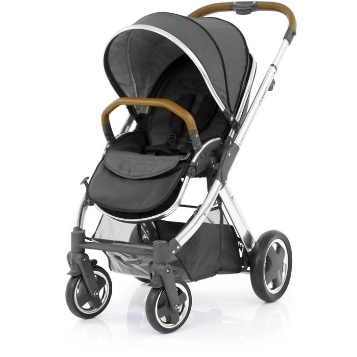 BabyStyle Oyster 2 Mirror Stroller Tan Handle (Tungsten Grey)
