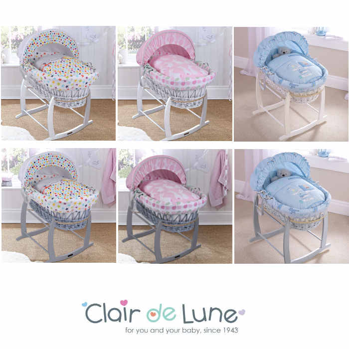 Clair De Lune Padded White Wicker Baby Moses Basket & Deluxe Rocking Stand