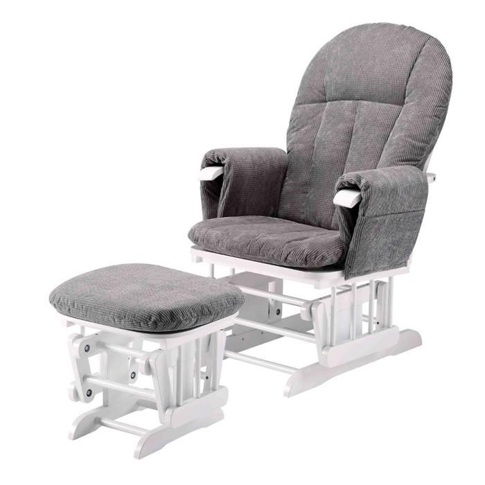 Cuddles Collection Glider Nursing Chair & Stool (White & Grey)