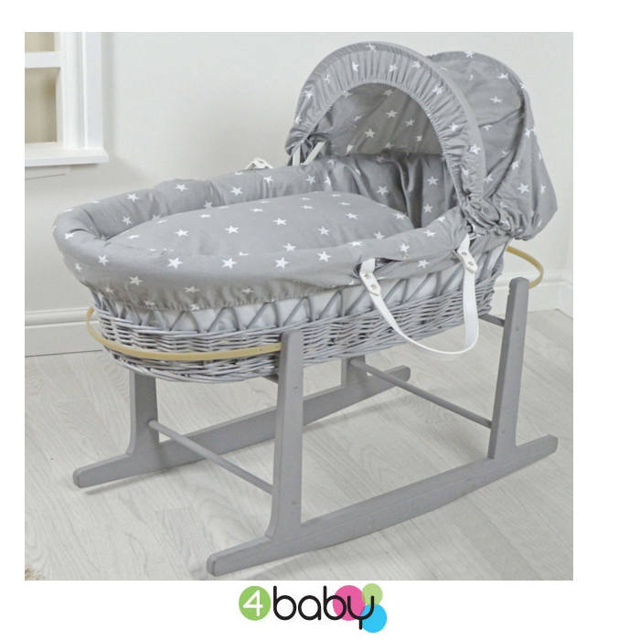 4baby Grey Wicker Moses Basket - Grey White Star