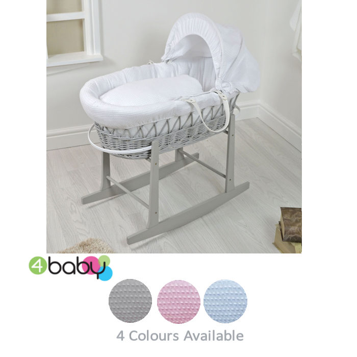 4Baby Padded Waffle Grey Wicker Moses Basket  Rocking Stand