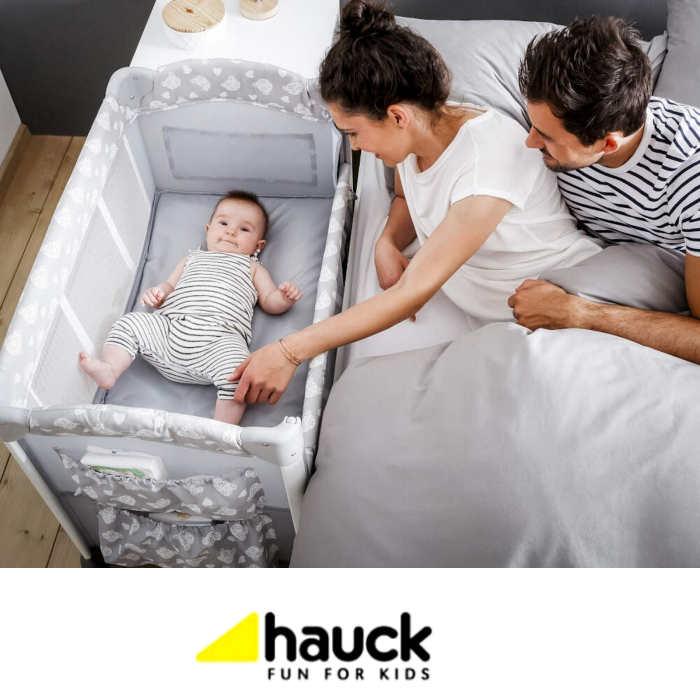 Hauck Sleep n Care Plus Travel Cot Bedside Crib - Teddy Grey