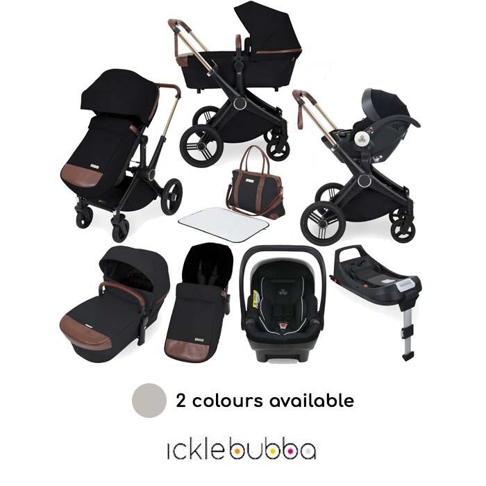 Ickle Bubba Aston Rose Mercury 13 Piece Everything You Need Travel System Bundle with ISOFIX Base