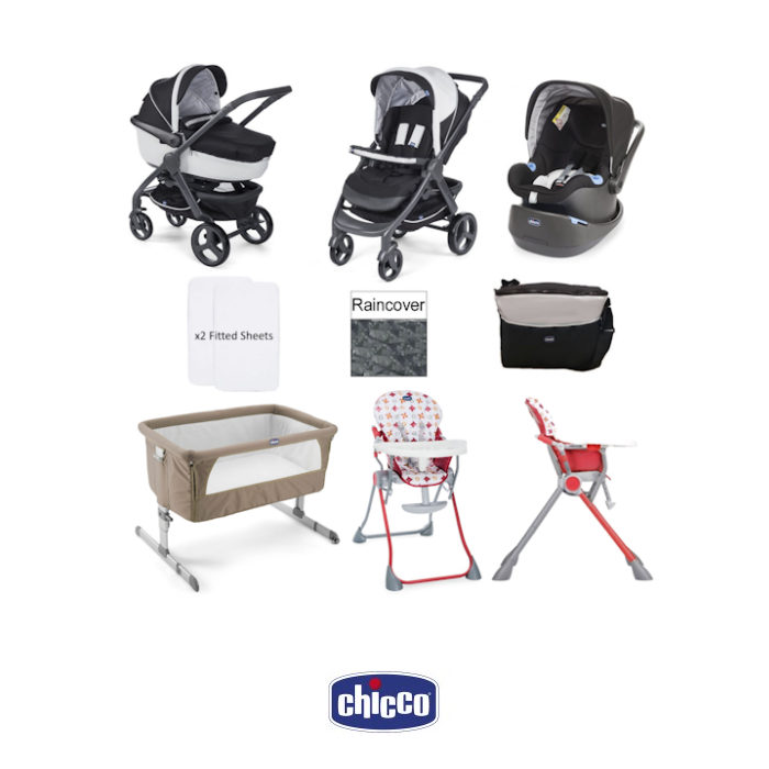Chicco Trio StyleGo  Pocket Meal Everything You Need 10 Piece Travel System Bundle - Dove Grey