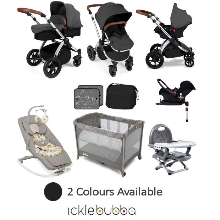 Ickle Bubba Joie Stomp V3 Silver Everything You Need Travel System Bundle With Base