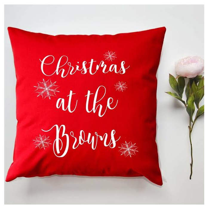 personalised red christmas cushion