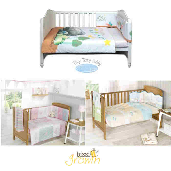 Bizzi Growin  Clair De Lune Two By Two 4 Piece Cot  Cot Bed Bedding Bale