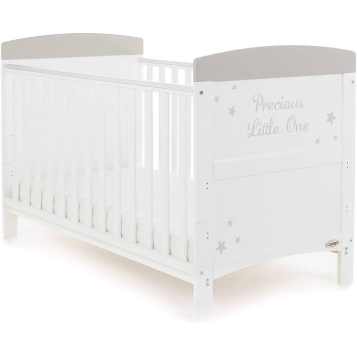 PreciousLittleOne Cot Bed (White with Grey Stars)